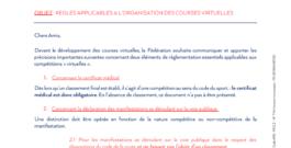 Circulaire n° 16 du 14 avril 2021 : Règles applicables à l'organisation des courses virtuelles.